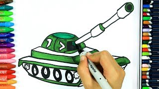 How to draw tank 🚧 | Drawing | How to color | Drawing and coloring | Colors for children
