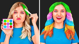 LONG HAIR PROBLEMS    Colorful Girly Hacks And DIY Tips! Funny Everyday Situations by 123 GO! SCHOOL