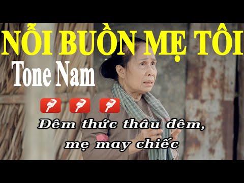 Nỗi Buồn Mẹ Tôi - Karaoke Tone Nam | Phối Chuẩn 2019 | Dể Hát |