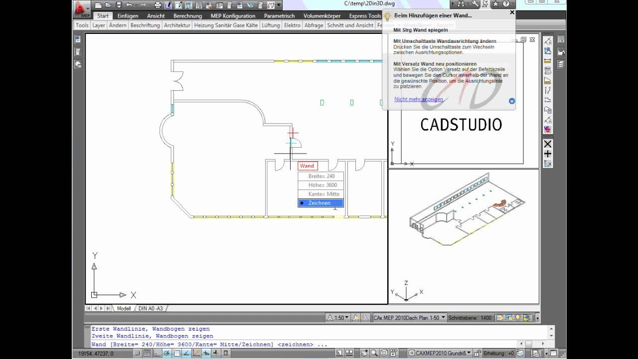 AutoCAD MEP 2010 | 1/2 Architektur: 2D Linien In 3D Objekte Umwandeln Teil  1/2