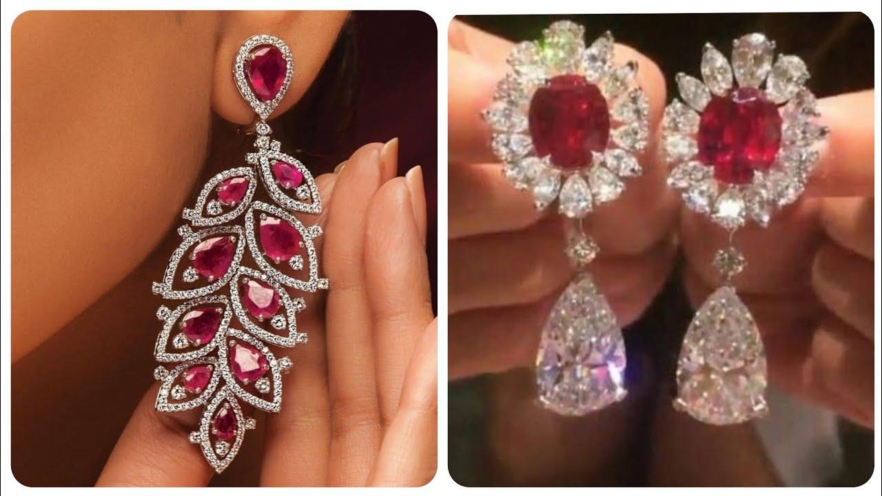 Top Stylish And Luxury Diamond Ruby Stud Earrings Long