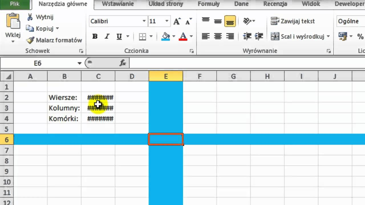 Kurs Excel 2010 Odcinek 4 Nazwa Komórki Szerokość Kolumny I Wysokość Wiersz