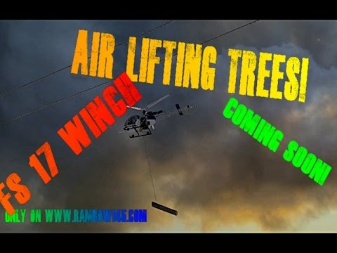 Farming simulator 2017 Working on the winch. Air Lifting trees out!