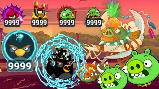 Angry Birds - JURASSIC PORK 9999+ ELECTRIC SHOCK POWER UPS RIP BAD PIGGIES