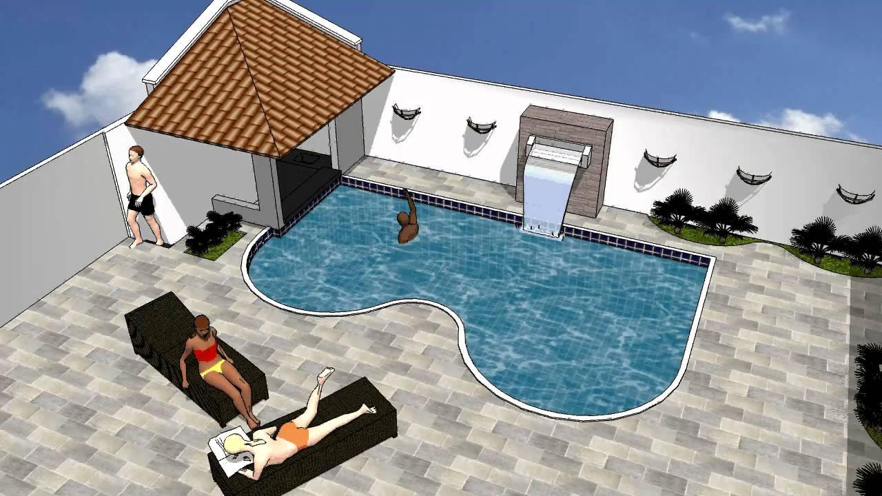 Desenho 3d piscina youtube for Piscina 3d
