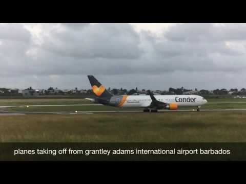 Planes taking off from barbados grantley adams international airports to a