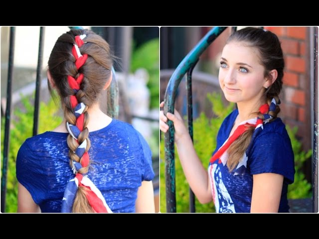 3 Minute Scarf Braid 4th Of July Hairstyles Youtube
