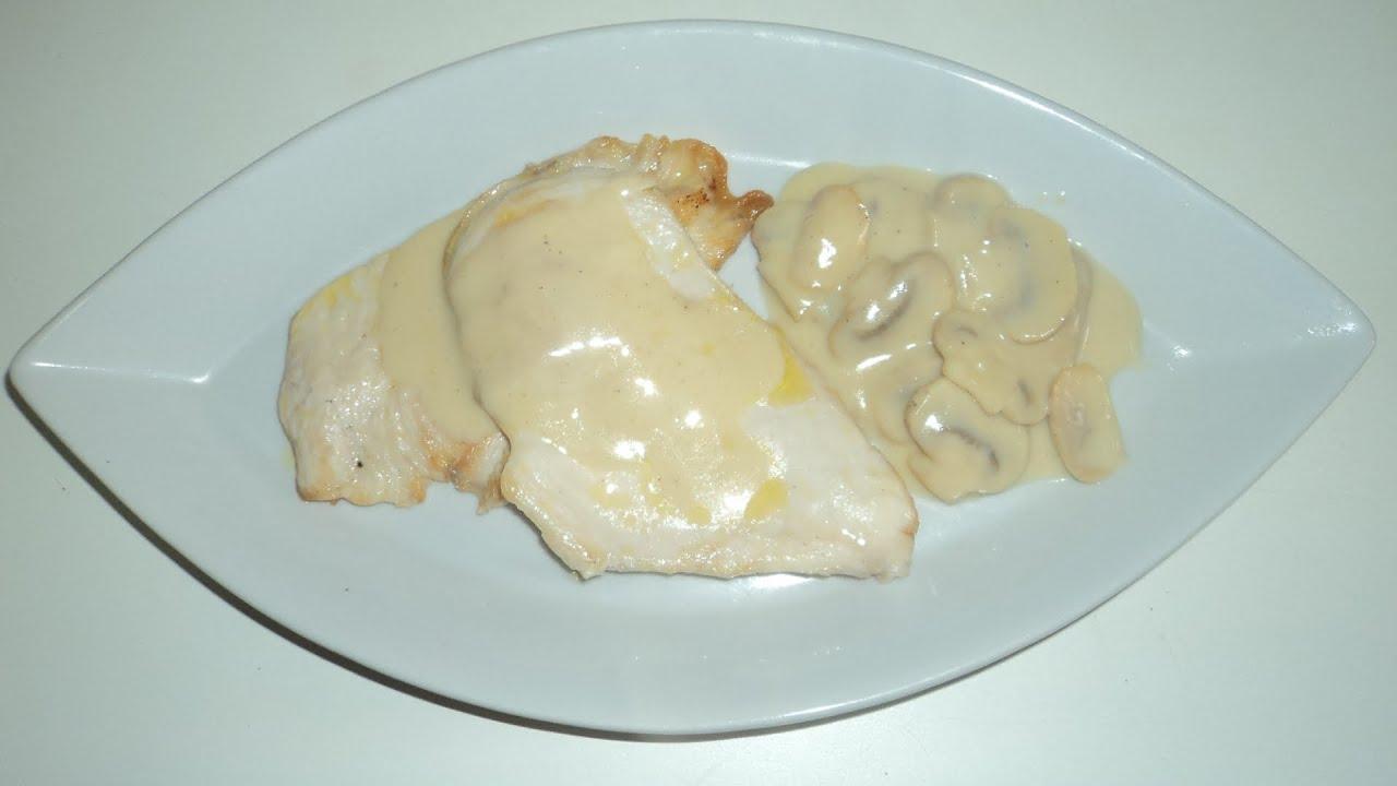 Pechugas de pollo con salsa de queso y champi ones youtube - Pechuga d pollo en salsa ...
