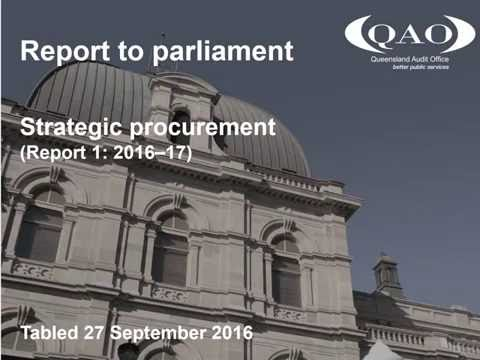 Strategic procurement (Report 1: 2016–17)