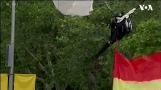 Spain News Parachute got stuck on lamp post