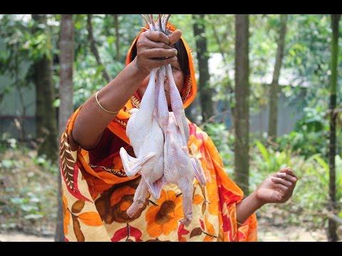 Village Food | Garlic coconut chicken | Grandmother recipes-50