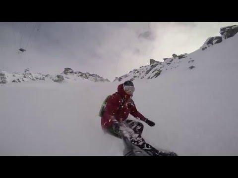 New gopro hero 4 freeride snowboard verbier deep powder