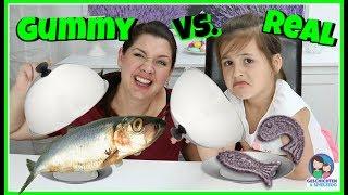 GUMMY FOOD vs REAL FOOD 🐟 Ekel Fisch Essen!?💕 Geschichten und Spielzeug Familienkanal