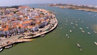 Ferragudo, Angrinha Beach,  São João do Arade Fort, Grande beach and Portimão Marina aerial view