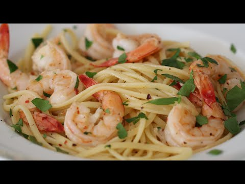 Shrimp Scampi & Pasta - Linguine With Lemon Butter Garlic White Wine Sauce