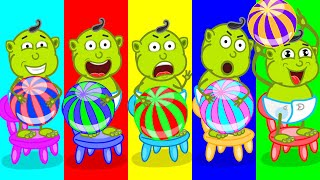 Lion Family | 5 Little Orcs Jumping on the Chair | Cartoon for Kids