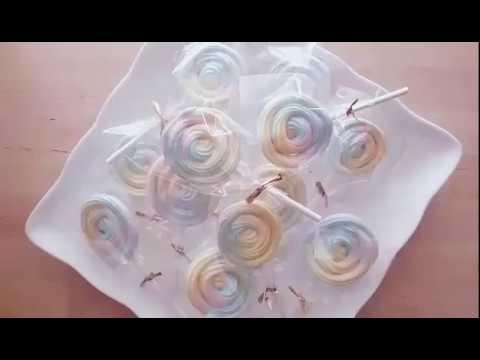 【Kokoma】療癒系粉嫩彩虹棒棒糖-用蛋白、糖、檸檬汁簡單做馬林糖 Meringue