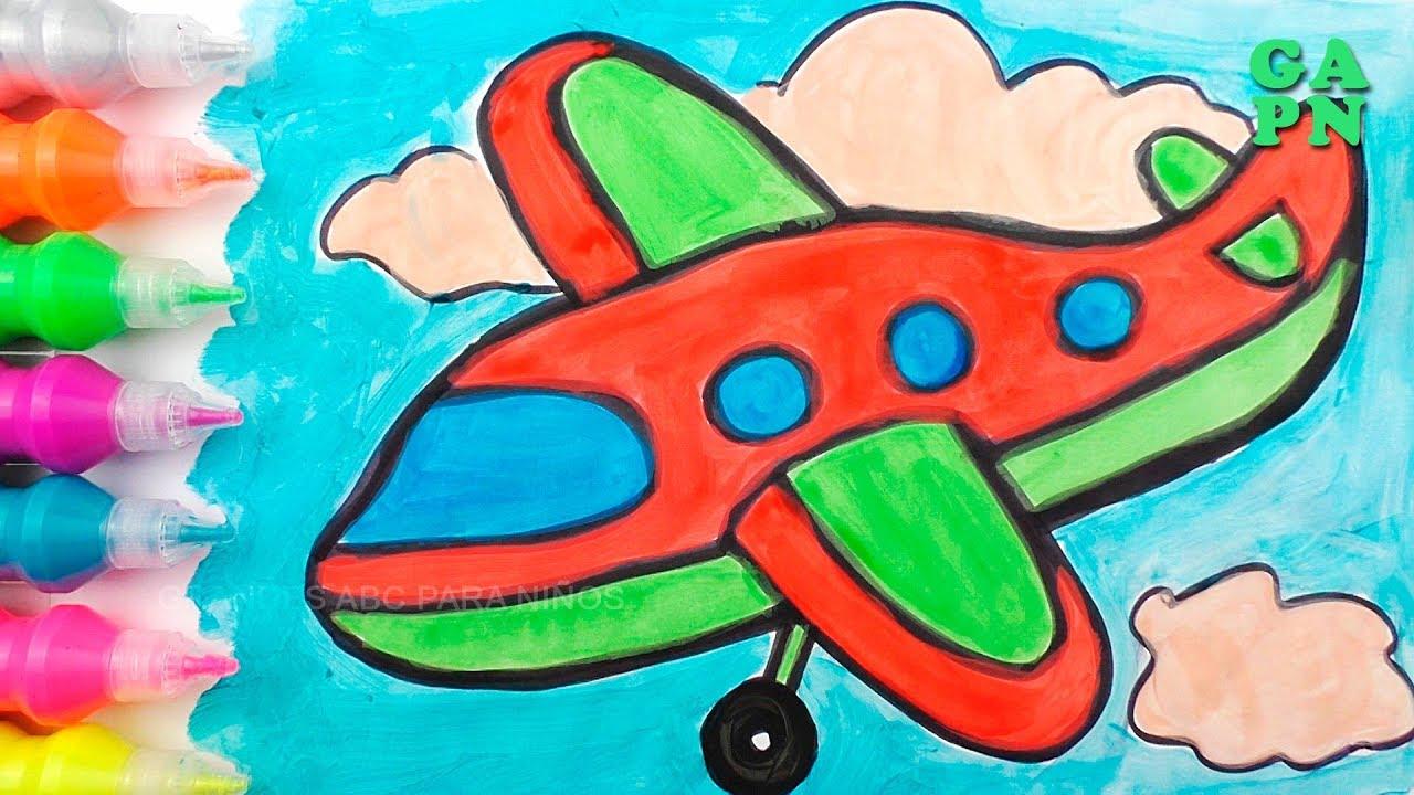 Como Dibujar Aviones Aprende Colores Para Ninos Con Pintura De