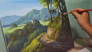 Acrylic Landscape Painting Lesson - Mountain Road by JMLisondra