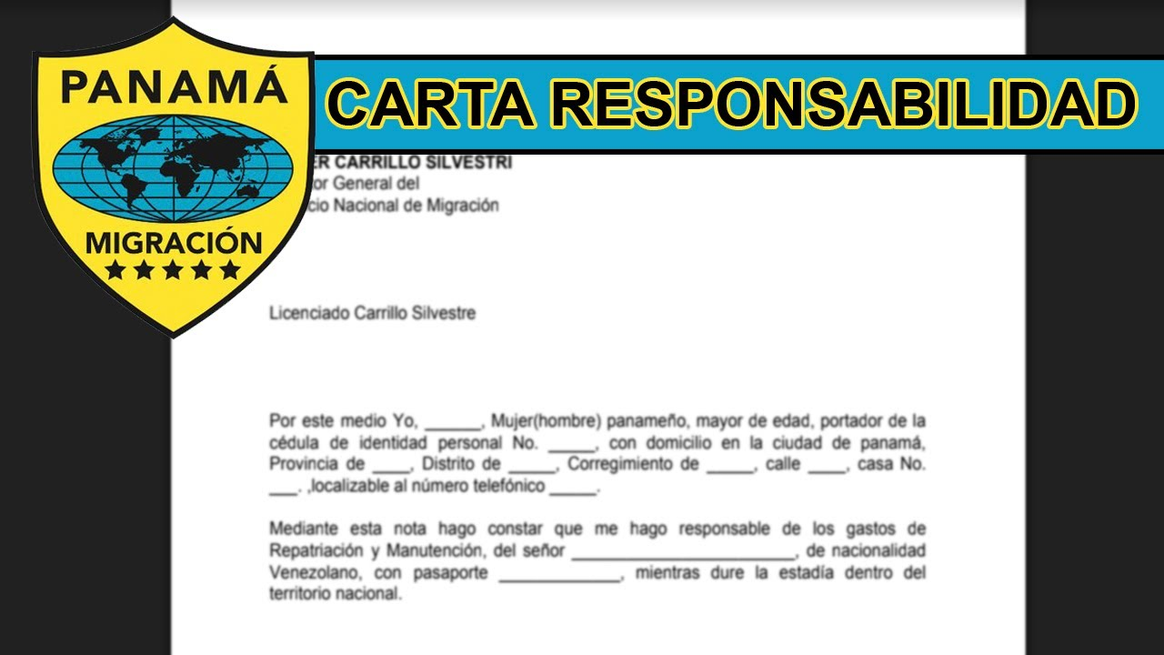 Carta De Responsabilidad Panamá 2019 Youtube
