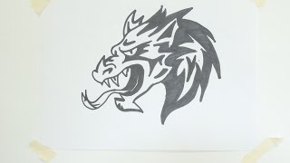 How to draw a dragon head tribal tattoo #10