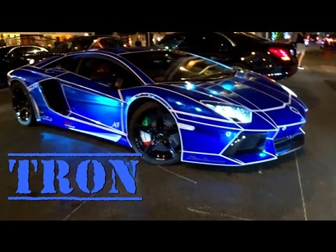 TRON Look on Lamborghini Aventador Blue Chrome !