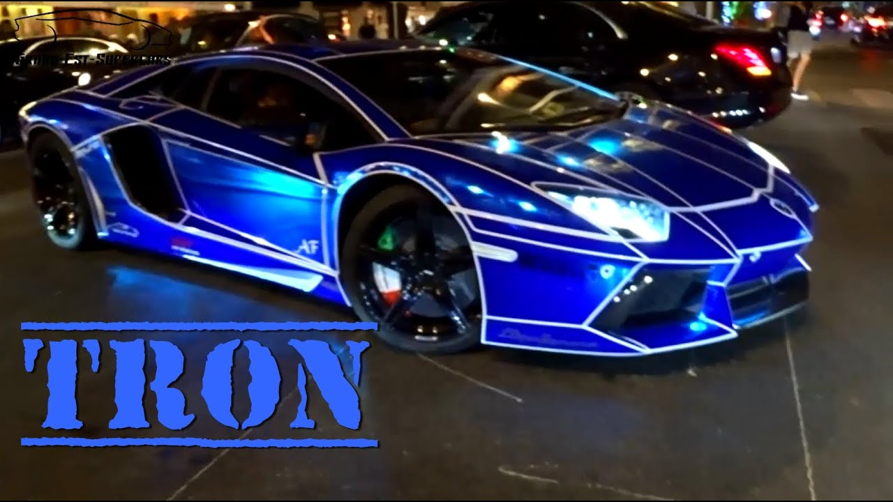 tron look on lamborghini aventador blue chrome youtube. Black Bedroom Furniture Sets. Home Design Ideas