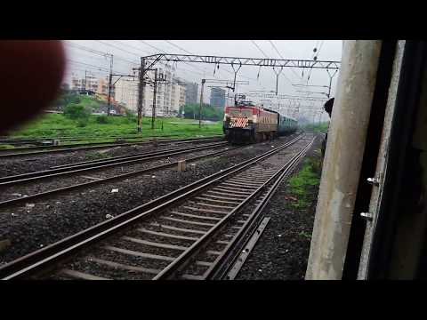 WAG-7 Tigerface leads 12107-Lucknow Superfast Express Overtaking the EMU + Track sound