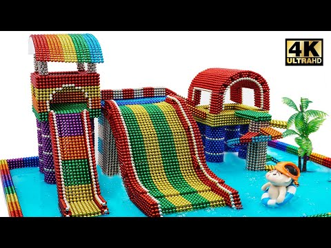 DIY How To Build Water Slide Playground From Magnetic Balls (Satisfying and relax) | Magnet World 4K