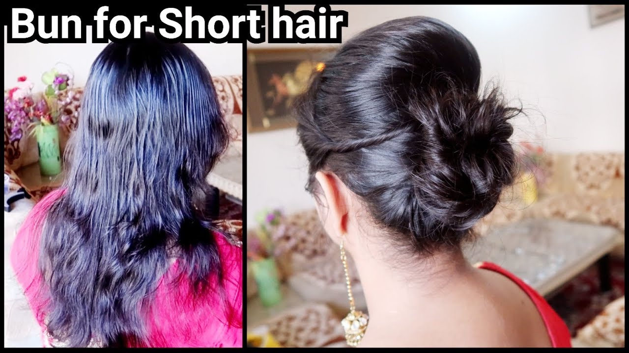 Karwachauth Special-Bun Hairstyle for SHORT Hair// Easy Indian ...