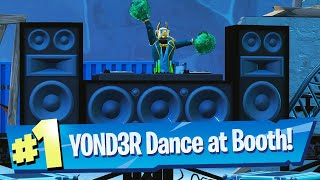 Dance behind the DJ Booth at the Dance Club with the DJ YOND3R outfit Location Fortnite Boogie Down