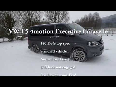 VW T5 4motion Executive Caravelle in snow, ice. People carrier, offroad 4x4, drifting. Volkswagen