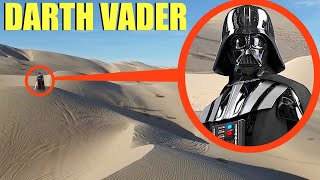 drone catches Darth Vader in sand dunes battling Jedi (He used the FORCE on the drone)