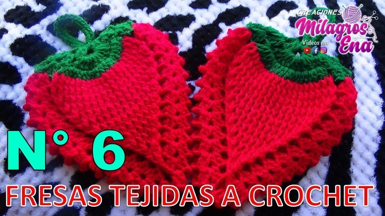 FRESA STRAWBERRY tejida a crochet para agarradera de ollas o adorno ...