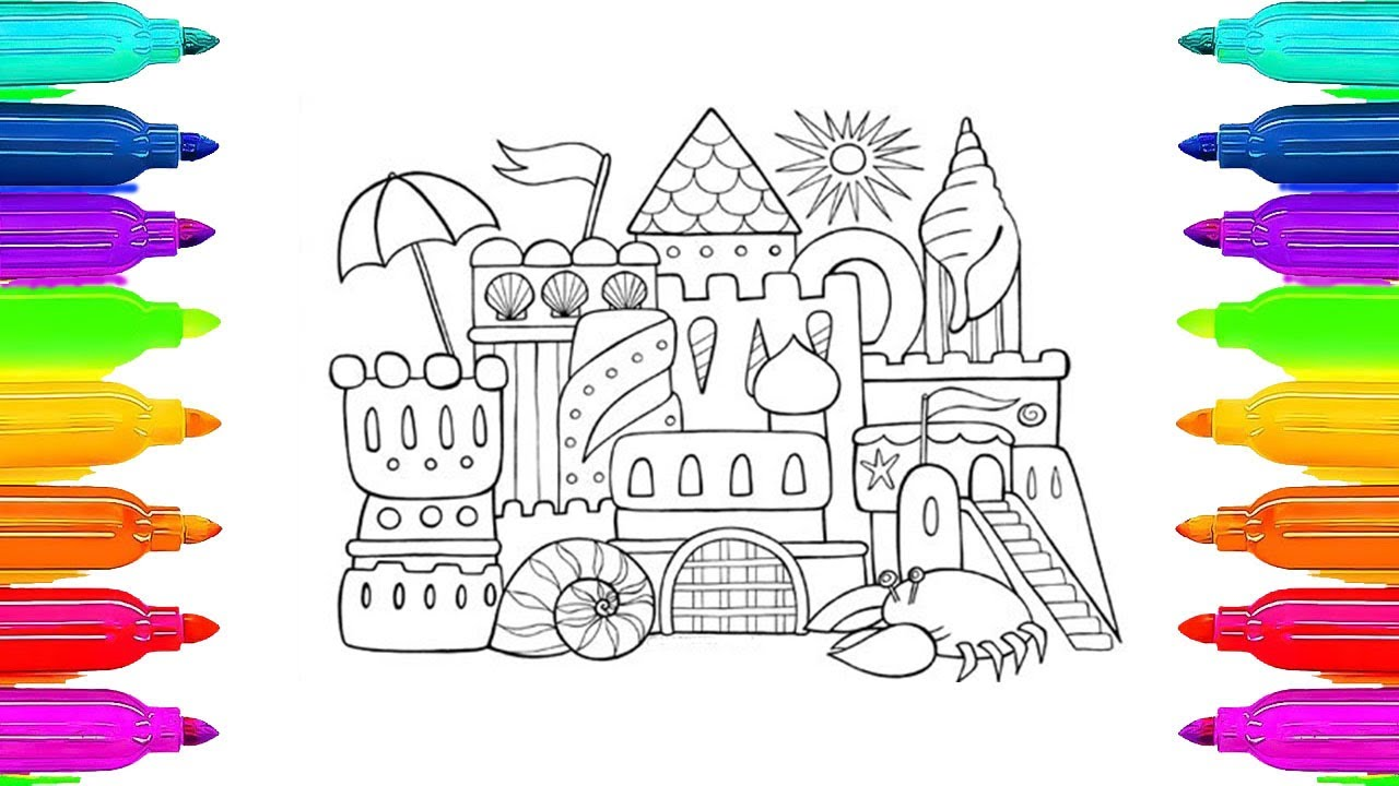 how to color summer sand castle coloring pages for kids learning