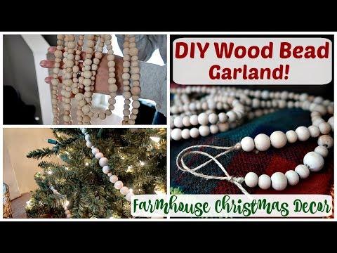 DIY FARMHOUSE CHRISTMAS DECOR | Wood Bead Garland | Mallory Logan