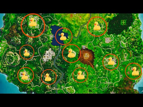All 10 Rubber Duckies Locations - Fortnite Battle Royale - Season 4 Week 3 Challenges!