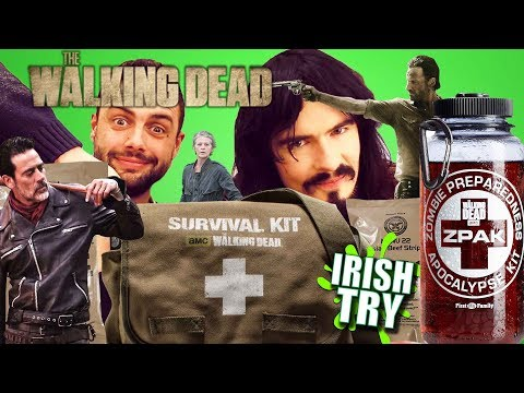 Irish People Try 'THE WALKING DEAD' Survival Kits!! - (2017)