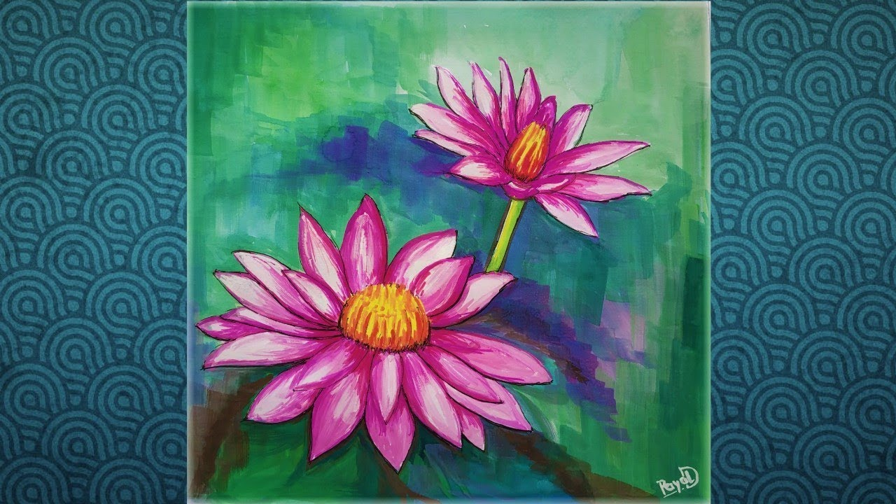 Lotus Painting Step By Step Water Color Painting For Beginners Youtube Lotus Painting Step By Step Painting Painting