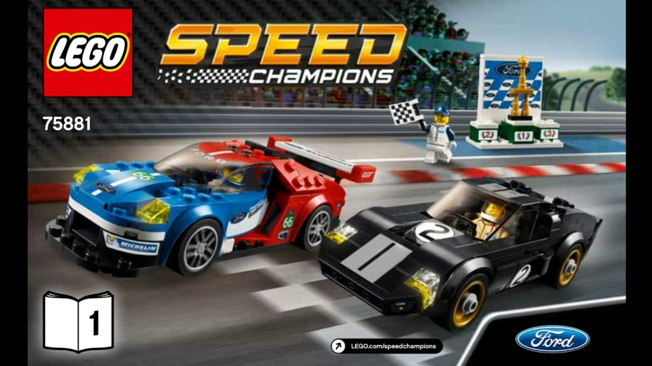 2017 lego speed champions 2016 ford gt 1966 ford gt40 instruction 75881 new youtube. Black Bedroom Furniture Sets. Home Design Ideas