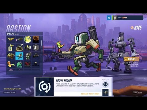 Overwatch - Bastion: Charge! & Triple Threat Achievements