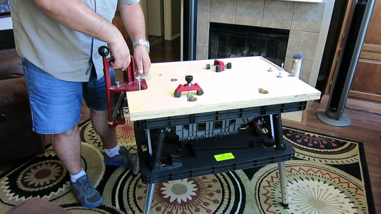 Portable reloading bench using a Keter folding work table ...