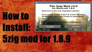 How to install 5zig mod for 1.8.9