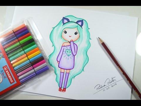 Como desenhar Bonequinha Tumblr - passo a passo