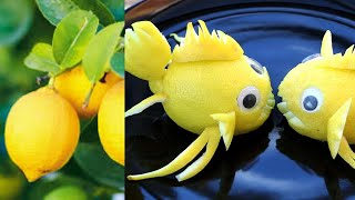How To Make Lemon Fish Garnish - Fruits Plate Decoration !