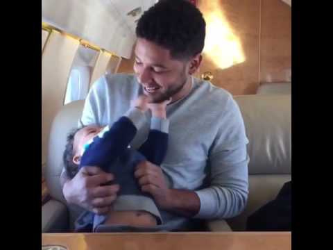 Jussie Smollett playing with Terrence Howard's son Qirin