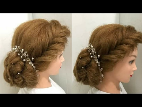 Most Beautiful Hairstyles For Wedding Or Function Bun Braid Youtube