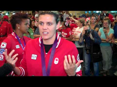 Olympic soccer player Christine Sinclair arrives in Vancouver