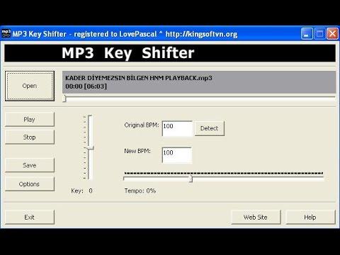 mp3 key shifter mp3 transpose,en kolay transpose programı kullanımı.