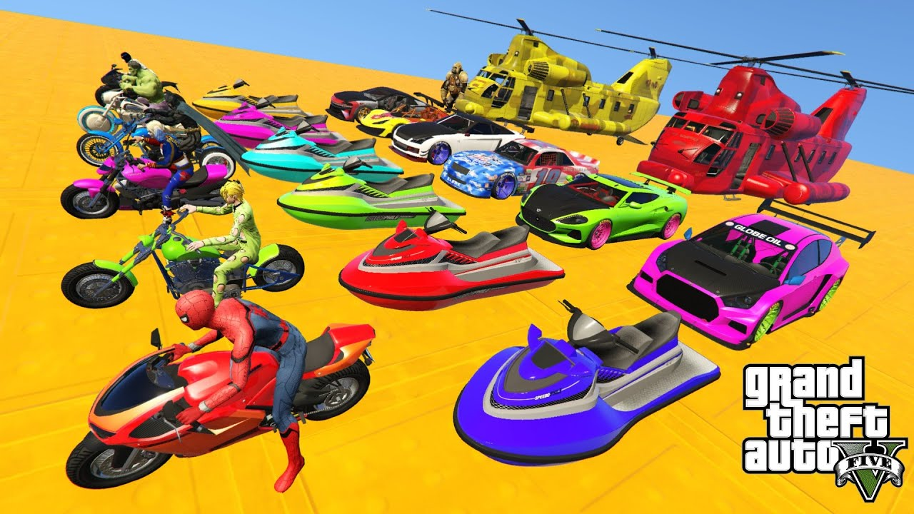 GTAV NEW Crazy Double Mega Ramps By Sport Cars, Motorcycle & Jet ski with Spiderman & Superh
